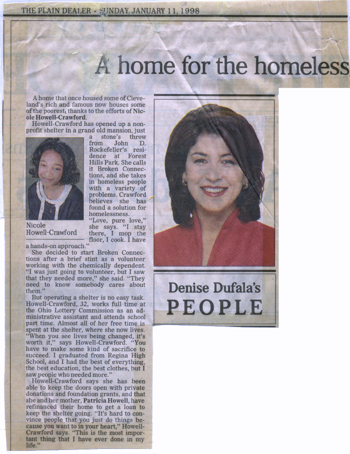 A Home for the Homeless - Broken Connections, Inc.