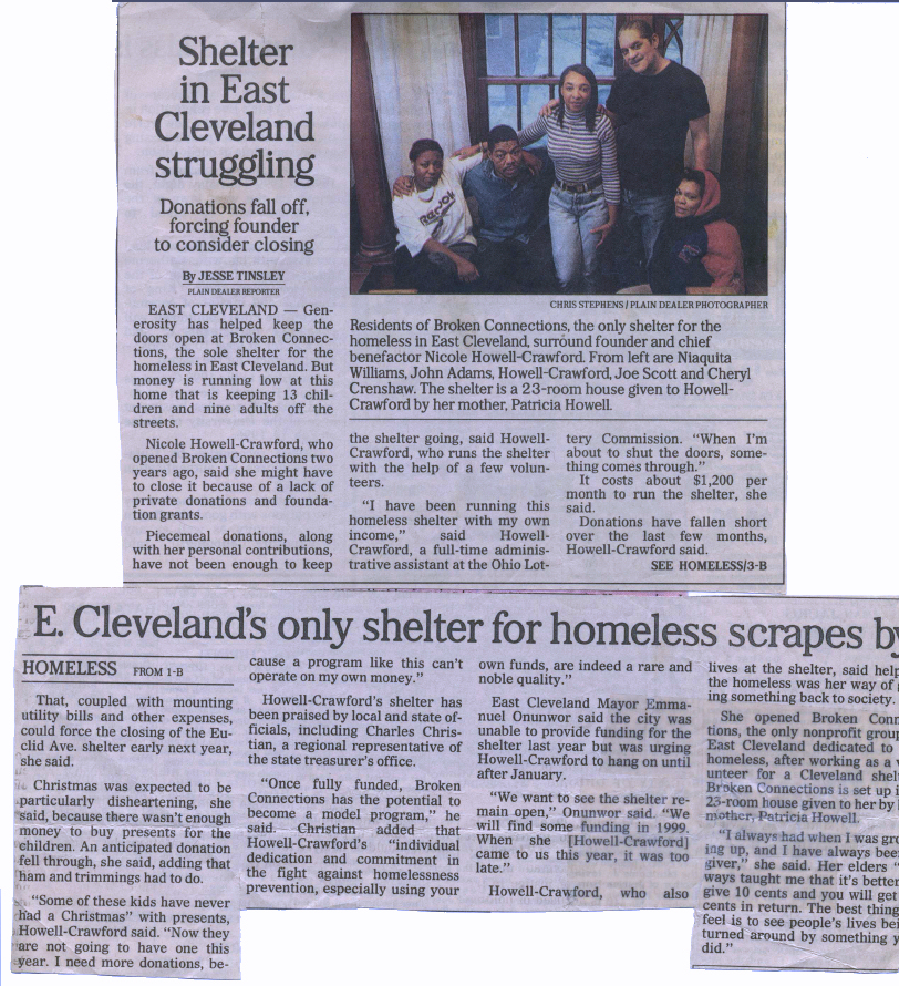 Homeless Shelter in East Cleveland - Broken Connections, Inc.
